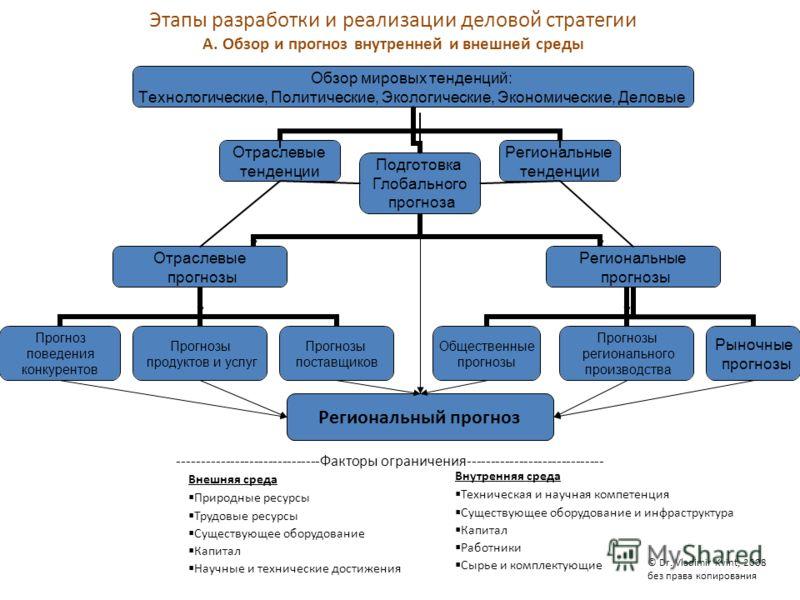 Этапы разработки и реализации деловой стратегии A. Обзор и прогноз внутренней и внешней среды ------------------------------Факторы ограничения----------------------------- Внешняя среда Природные ресурсы Трудовые ресурсы Существующее оборудование Ка