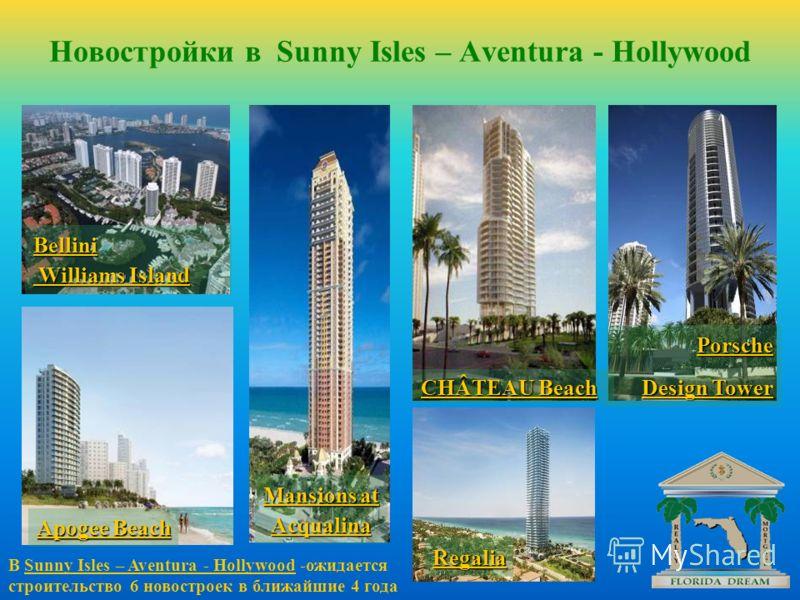 Новостройки в Sunny Isles – Aventura - Hollywood В Sunny Isles – Aventura - Hollywood -ожидается строительство 6 новостроек в ближайшие 4 года Porsche Design Tower Mansions at Acqualina Regalia CHÂTEAU Beach Bellini Williams Island Williams Island Ap