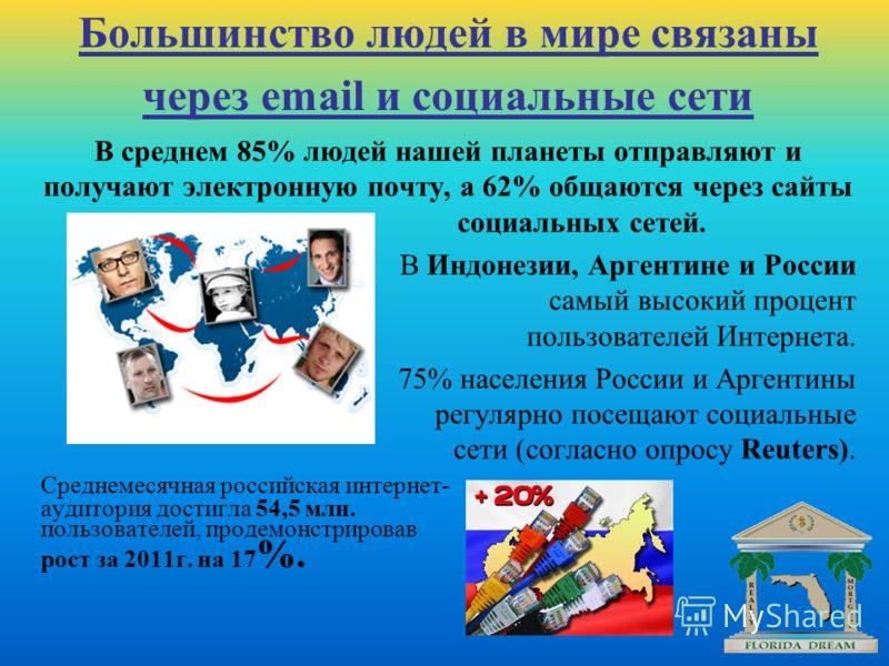 В среднем 85% людей нашей планеты отправляют и получают электронную почту, а 62% общаются через сайты социальных сетей. В Индонезии, Аргентине и России самыйвысокий процент пользователей Интернета. 75% населения России и Аргентины регулярно посещают