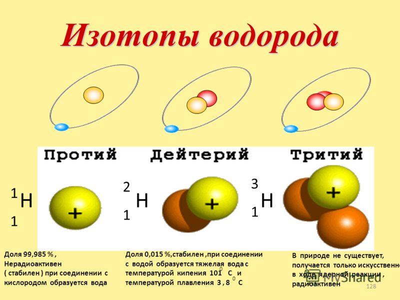 Изотопы 127 Изотопы - это химические элементы, ядра которых имеют одинаковое число протонов, но разное число нейтронов ( разную массу ). Изотопы имеют одинаковые химические свойства ( обусловлены зарядом ядра ), но разные физические свойства ( обусло