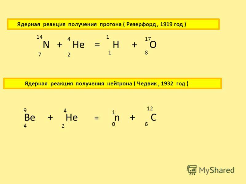 Искуственное превращение одного ядра в другое ядро при взаимодействии (бомбардировке) другими ядрами или элементарными частицами –альфа – частицами,протонами и нейтронами, называется ядерной реакцией. Положительно заряженные ядра и протоны для проник