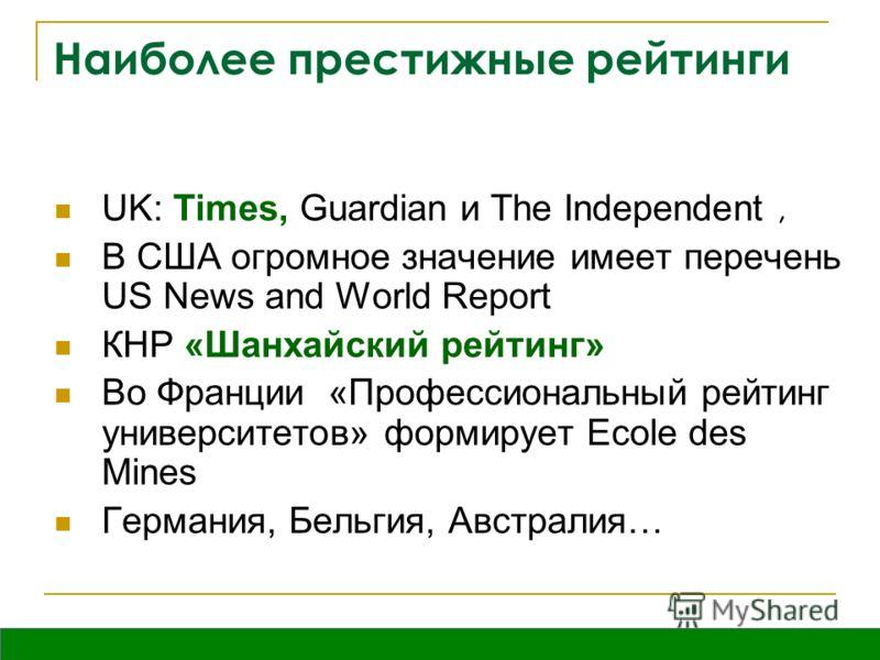 Вятка, октябрь 2009 Наиболее престижные рейтинги UK: Times, Guardian и The Independent, В США огромное значение имеет перечень US News and World Report КНР «Шанхайский рейтинг» Во Франции «Профессиональный рейтинг университетов» формирует Ecole des M