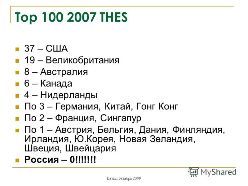 Вятка, октябрь 2009 Top 100 2007 THES 37 – США 19 – Великобритания 8 – Австралия 6 – Канада 4 – Нидерланды По 3 – Германия, Китай, Гонг Конг По 2 – Франция, Сингапур По 1 – Австрия, Бельгия, Дания, Финляндия, Ирландия, Ю.Корея, Новая Зеландия, Швеция