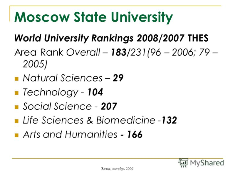 Вятка, октябрь 2009 Moscow State University World University Rankings 2008/2007 THES Area Rank Overall – 183 /231(96 – 2006; 79 – 2005) Natural Sciences – 29 Technology - 104 Social Science - 207 Life Sciences & Biomedicine - 132 Arts and Humanities