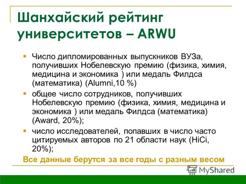 Вятка, октябрь 2009 Шанхайский рейтинг университетов – ARWU Число дипломированных выпускников ВУЗа, получивших Нобелевскую премию (физика, химия, медицина и экономика ) или медаль Филдса (математика) (Alumni,10 %) общее число сотрудников, получивших