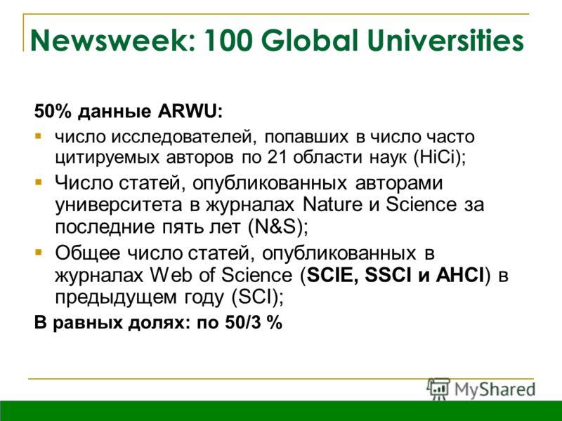 Вятка, октябрь 2009 Newsweek: 100 Global Universities 50% данные ARWU: число исследователей, попавших в число часто цитируемых авторов по 21 области наук (HiCi); Число статей, опубликованных авторами университета в журналах Nature и Science за послед