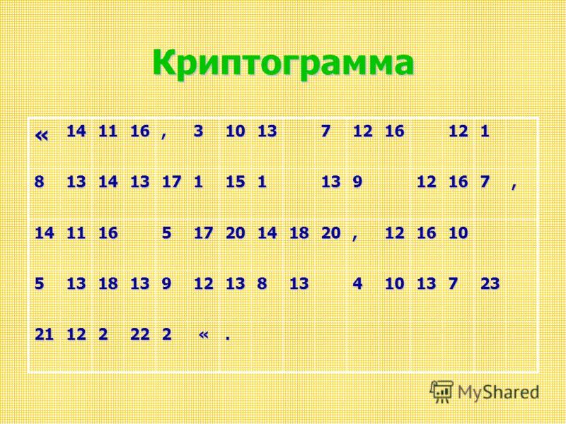 Криптограмма «141116,3101371216121 813141317115113912167, 14111651720141820,121610 51318139121381341013723 21122222 «.