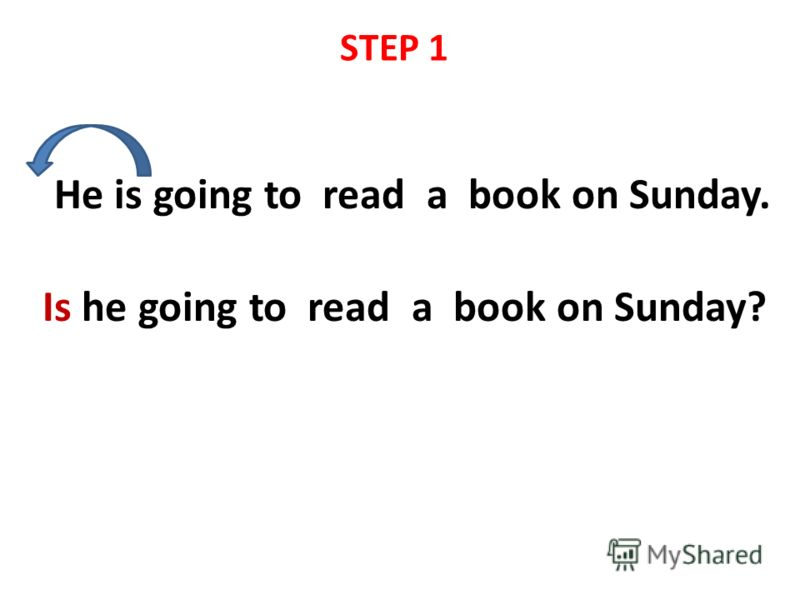 He is going to read a book on Sunday. Is he going to read a book on Sunday? STEP 1
