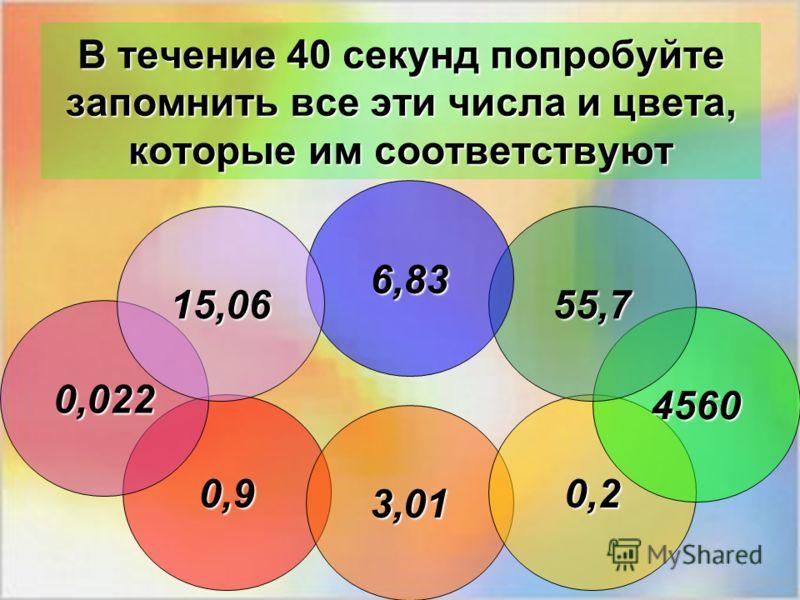 В течение 40 секунд попробуйте запомнить все эти числа и цвета, которые им соответствуют 0,9 3,01 0,2 4560 55,7 6,83 0,022 15,06