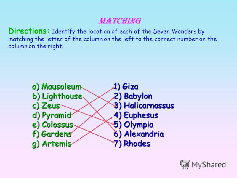 Matching Directions: Identify the location of each of the Seven Wonders by matching the letter of the column on the left to the correct number on the column on the right. a) Mausoleum b) Lighthouse c) Zeus d) Pyramid e) Colossus f) Gardens g) Artemis