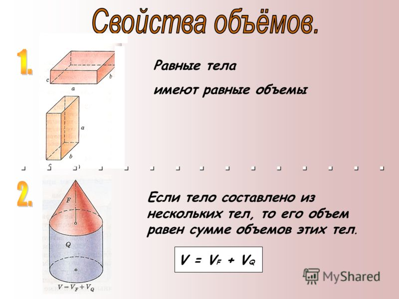 Равные тела имеют равные объемы Если тело составлено из нескольких тел, то его объем равен сумме объемов этих тел. V = V F + V Q