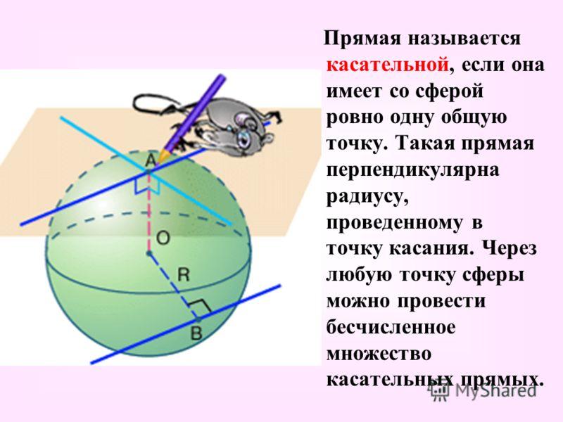 Прямая называется касательной, если она имеет со сферой ровно одну общую точку. Такая прямая перпендикулярна радиусу, проведенному в точку касания. Через любую точку сферы можно провести бесчисленное множество касательных прямых.