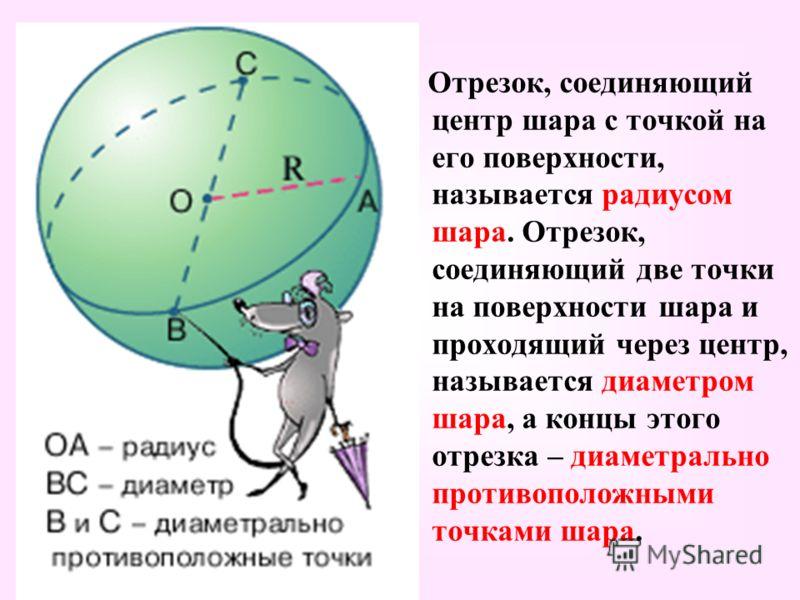 Отрезок, соединяющий центр шара с точкой на его поверхности, называется радиусом шара. Отрезок, соединяющий две точки на поверхности шара и проходящий через центр, называется диаметром шара, а концы этого отрезка – диаметрально противоположными точка