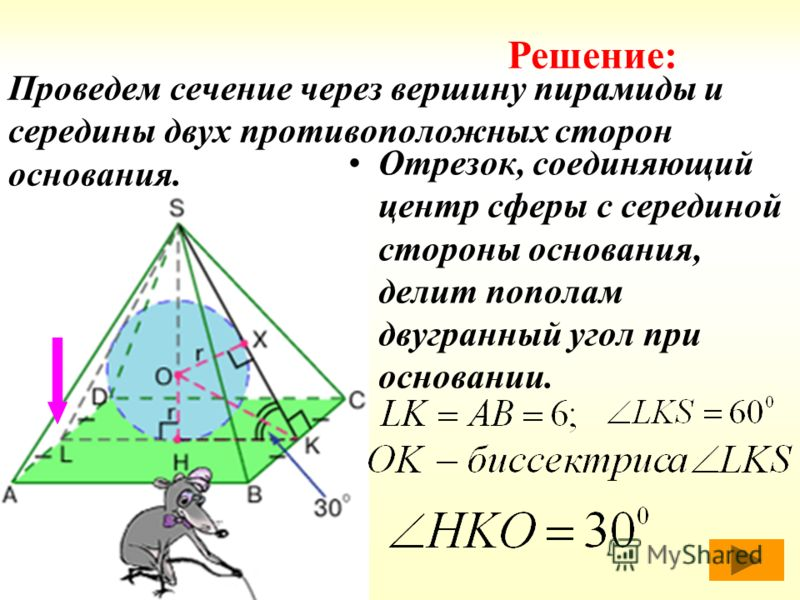 Проведем сечение через вершину пирамиды и середины двух противоположных сторон основания. Отрезок, соединяющий центр сферы с серединой стороны основания, делит пополам двугранный угол при основании. Решение:
