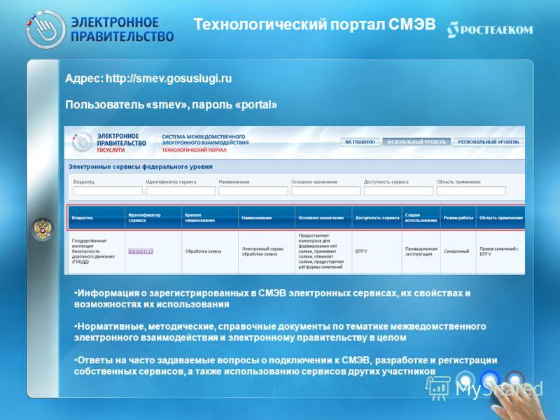 Технологический портал СМЭВ Адрес: http://smev.gosuslugi.ru Пользователь «smev», пароль «portal» Информация о зарегистрированных в СМЭВ электронных сервисах, их свойствах и возможностях их использования Нормативные, методические, справочные документы