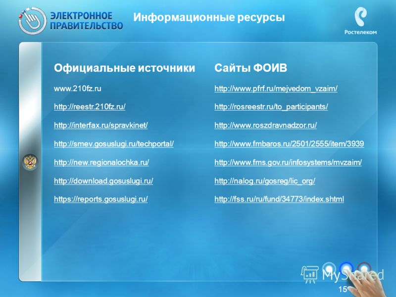 Информационные ресурсы 15 Официальные источники www.210fz.ru http://reestr.210fz.ru/ http://interfax.ru/spravkinet/ http://smev.gosuslugi.ru/techportal/ http://new.regionalochka.ru/ http://download.gosuslugi.ru/ https://reports.gosuslugi.ru/ Сайты ФО