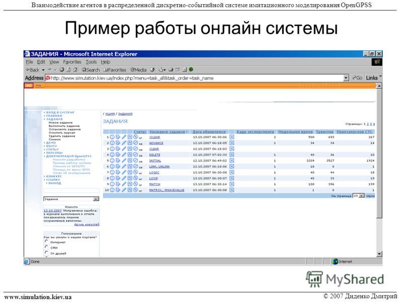 Пример работы онлайн системы www.simulation.kiev.ua © 2007 Диденко Дмитрий Взаимодействие агентов в распределенной дискретно-событийной системе имитационного моделирования OpenGPSS