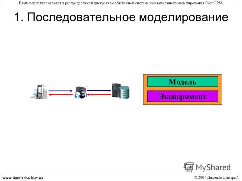 1. Последовательное моделирование www.simulation.kiev.ua © 2007 Диденко Дмитрий Взаимодействие агентов в распределенной дискретно-событийной системе имитационного моделирования OpenGPSS Модель Эксперимент Модель Эксперимент