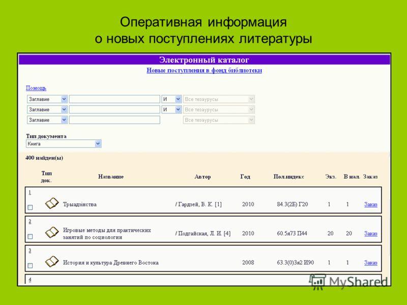Оперативная информация о новых поступлениях литературы