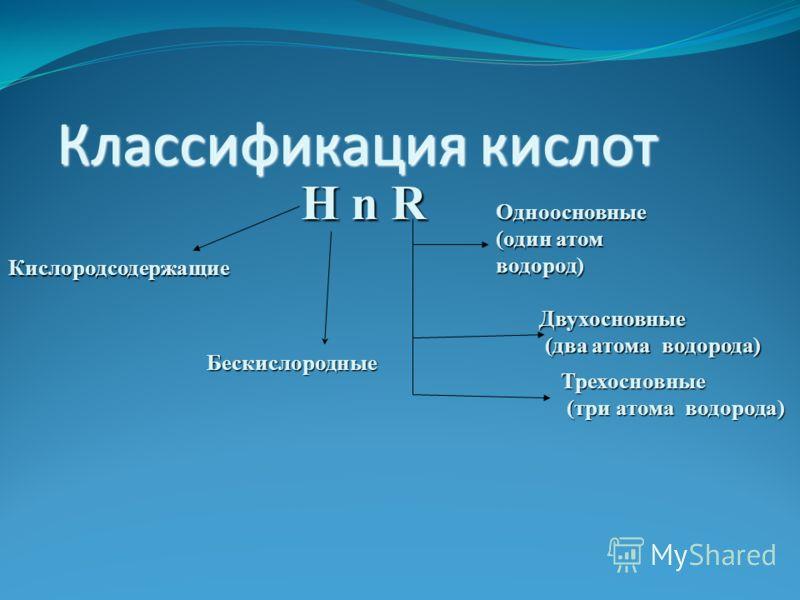 Классификация кислот H n R Кислородсодержащие Бескислородные Одноосновные (один атом водород) Двухосновные (два атома водорода) (два атома водорода) Трехосновные (три атома водорода) (три атома водорода)