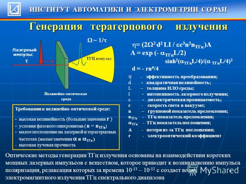 6 Генерация терагерцового излучения Лазерный импульс ТГЦ импульс Нелинейно-оптическая среда ~ = (2 d 2 LI / c 3 n 2 n ТГц )A A = exp (- ТГц L/2) sinh 2 ( ТГц L/4)/( ТГц L/4) 2 d = - rn 4 /4 - эффективность преобразования; d - квадратичная нелинейност