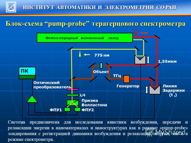 8 Блок-схема pump-probe терагерцового спектрометра ПК Фемтосекундный волоконный лазер 1,55мкм 775 нм Линия Задержки (t i ) Генератор Объект Оптический преобразователь Призма Волластона ФПУ2ФПУ1 ТГц Система предназначена для исследования кинетики возб
