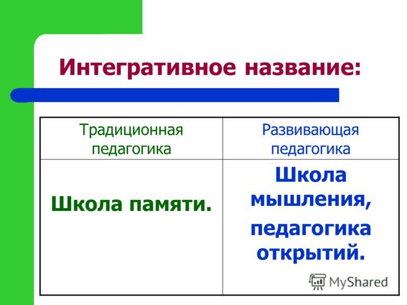 Интегративное название: Традиционная педагогика Развивающая педагогика Школа памяти. Школа мышления, педагогика открытий.