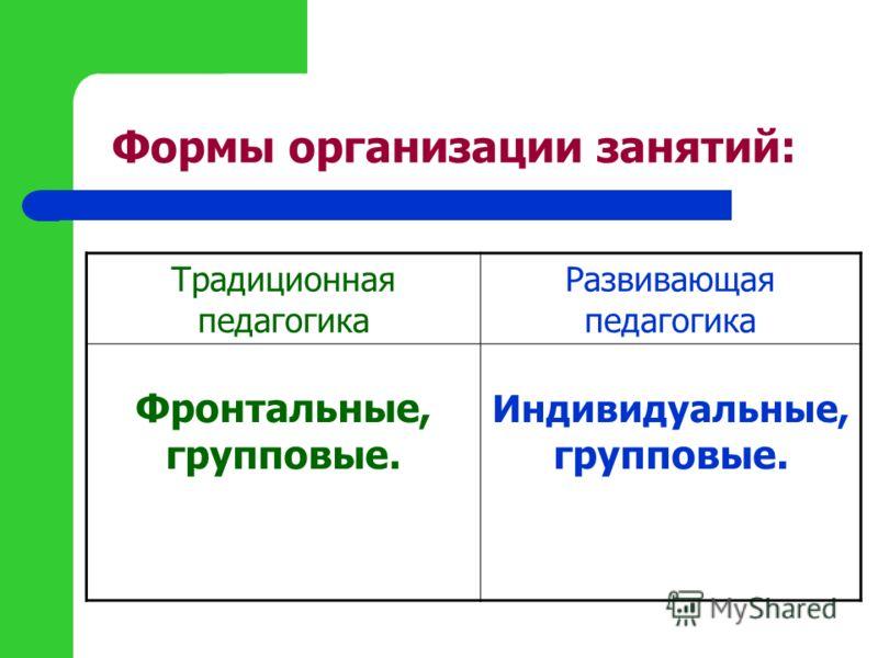 Формы организации занятий: Традиционная педагогика Развивающая педагогика Фронтальные, групповые. Индивидуальные, групповые.