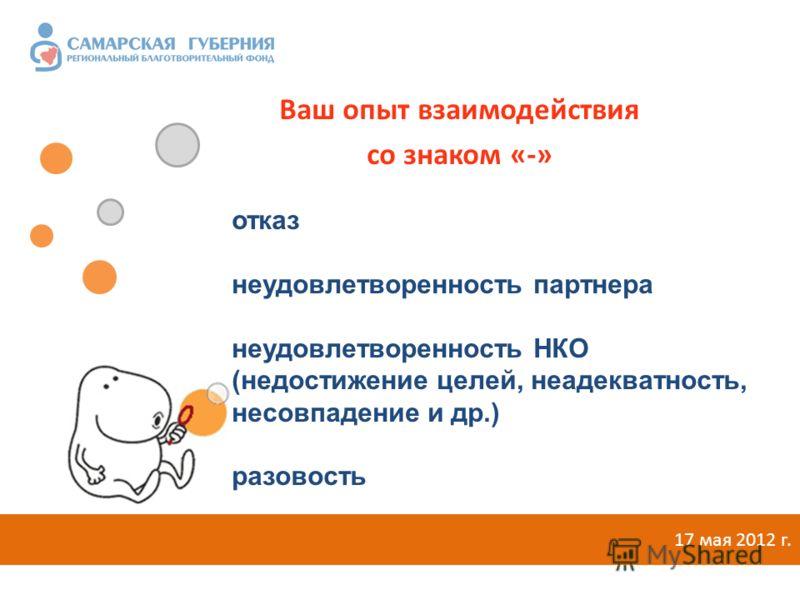 Ваш опыт взаимодействия со знаком «-» 17 мая 2012 г. отказ неудовлетворенность партнера неудовлетворенность НКО (недостижение целей, неадекватность, несовпадение и др.) разовость