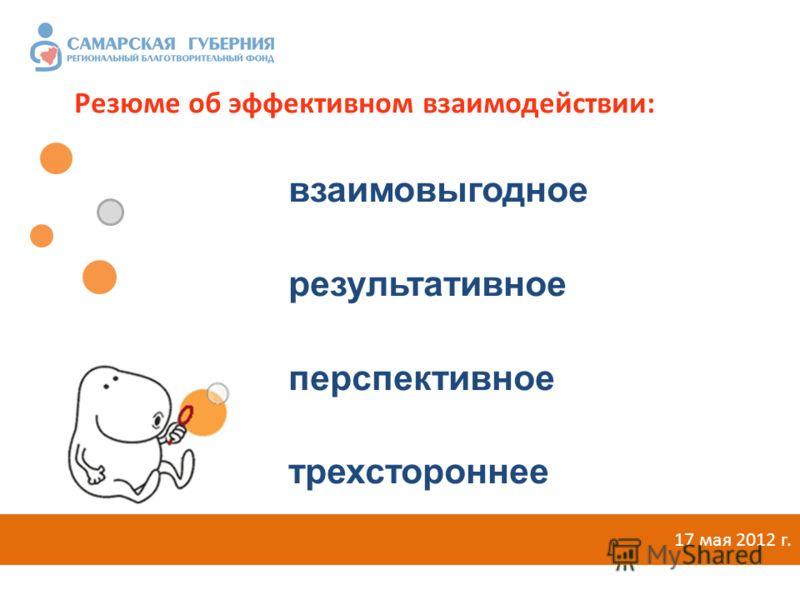 взаимовыгодное результативное перспективное трехстороннее 17 мая 2012 г. Резюме об эффективном взаимодействии: