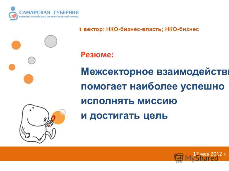 Межсекторное взаимодействие помогает наиболее успешно исполнять миссию и достигать цель 17 мая 2012 г. Резюме: 1 вектор: НКО-бизнес-власть; НКО-бизнес