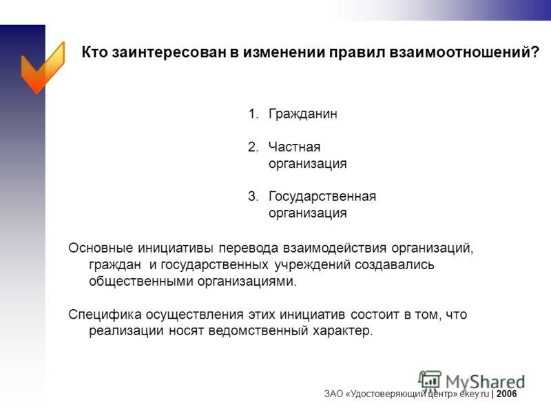 ЗАО «Удостоверяющий центр» ekey.ru | 2006 Кто заинтересован в изменении правил взаимоотношений? Основные инициативы перевода взаимодействия организаций, граждан и государственных учреждений создавались общественными организациями. Специфика осуществл