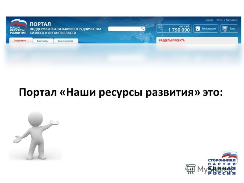 Портал «Наши ресурсы развития» это: