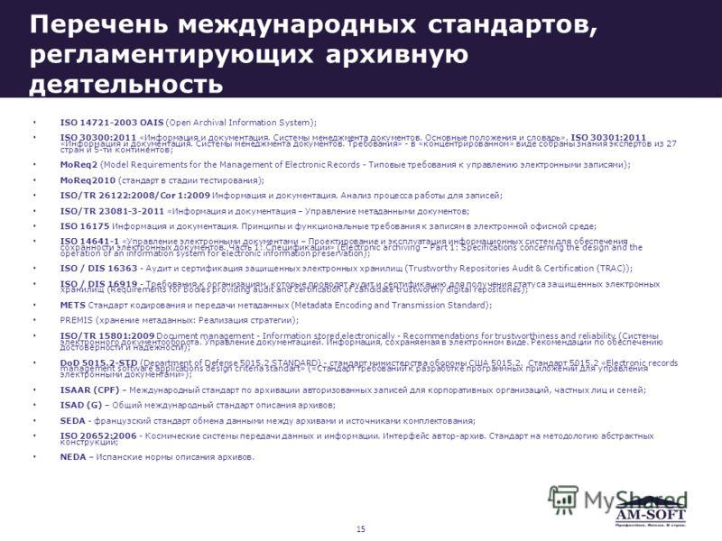 Перечень международных стандартов, регламентирующих архивную деятельность ISO 14721-2003 OAIS (Open Archival Information System); ISO 30300:2011 «Информация и документация. Системы менеджмента документов. Основные положения и словарь», ISO 30301:2011