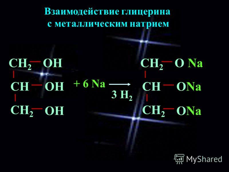 Взаимодействие глицерина с металлическим натрием СН 2 ОН СН СН 2 ОН + 6 Na СН 2 О Na СН СН 2 ОNa 3 H23 H2