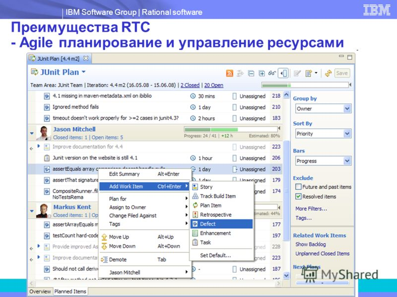 IBM Software Group   Rational software Преимущества RTC - Agile планирование и управление ресурсами