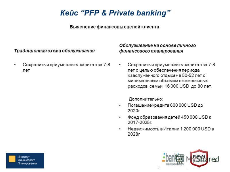 Кейс PFP & Private banking Традиционная схема обслуживания Сохранить и приумножить капитал за 7-8 лет Обслуживание на основе личного финансового планирования Сохранить и приумножить капитал за 7-8 лет с целью обеспечения периода «заслуженного отдыха»