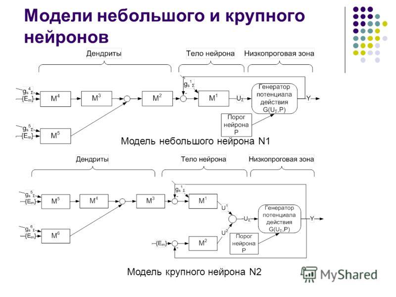 Модели небольшого и крупного нейронов Модель небольшого нейрона N1 Модель крупного нейрона N2