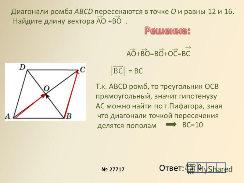 Ответ: АО+ВО=ВО+ОС=ВС Диагонали ромба ABCD пересекаются в точке O и равны 12 и 16. Найдите длину вектора АО +ВО. 27717 = ВС Т.к. ABCD ромб, то треугольник ОСВ прямоугольный, значит гипотенузу АС можно найти по т.Пифагора, зная что диагонали точкой пе