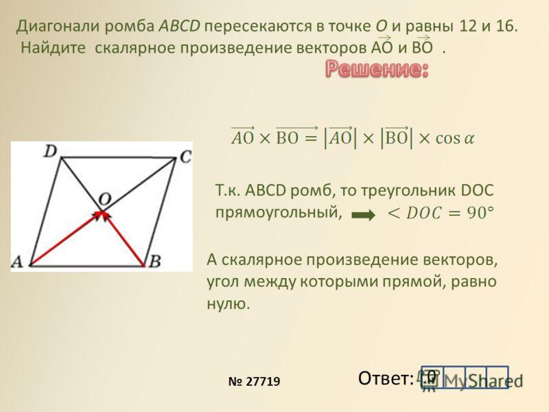 Ответ: Диагонали ромба ABCD пересекаются в точке O и равны 12 и 16. Найдите скалярное произведение векторов АО и ВО. 27719 Т.к. ABCD ромб, то треугольник DOC прямоугольный, А скалярное произведение векторов, угол между которыми прямой, равно нулю. 0