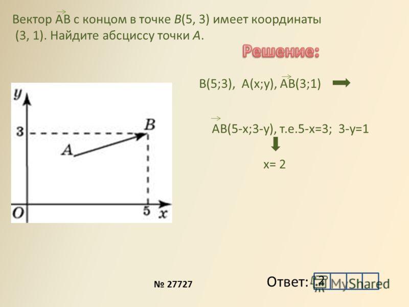 Вектор AB с концом в точке B(5, 3) имеет координаты (3, 1). Найдите абсциссу точки A. B D B(5;3), A(x;y), AB(3;1) Ответ: AB(5-x;3-y), т.е.5-x=3; 3-y=1 x= 2 2 27727