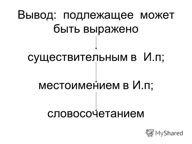 Вывод: подлежащее может быть выражено существительным в И.п; местоимением в И.п; словосочетанием