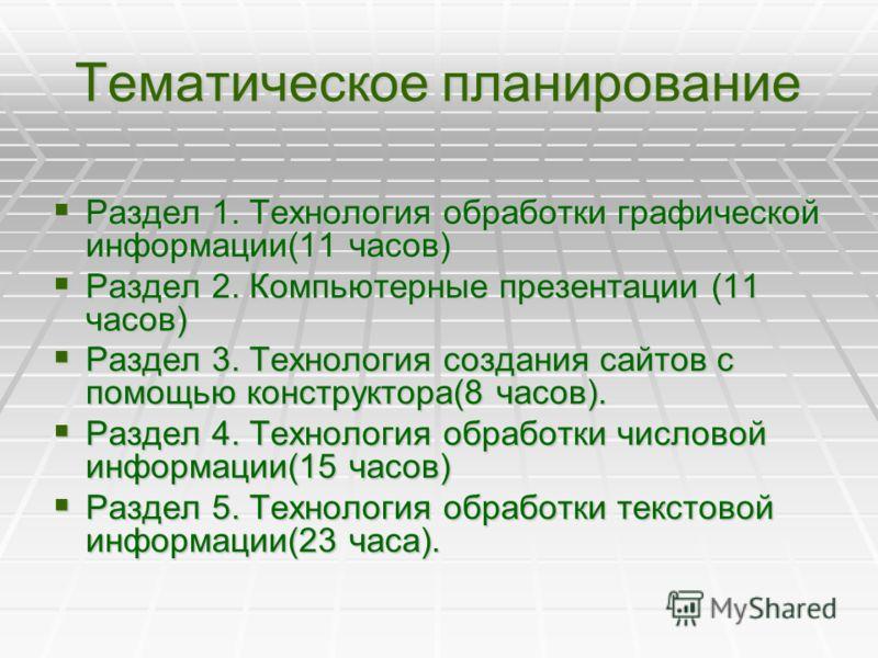 Тематическое планирование Раздел 1. Технология обработки графической информации(11 часов) Раздел 1. Технология обработки графической информации(11 часов) Раздел 2. Компьютерные презентации (11 часов) Раздел 2. Компьютерные презентации (11 часов) Разд
