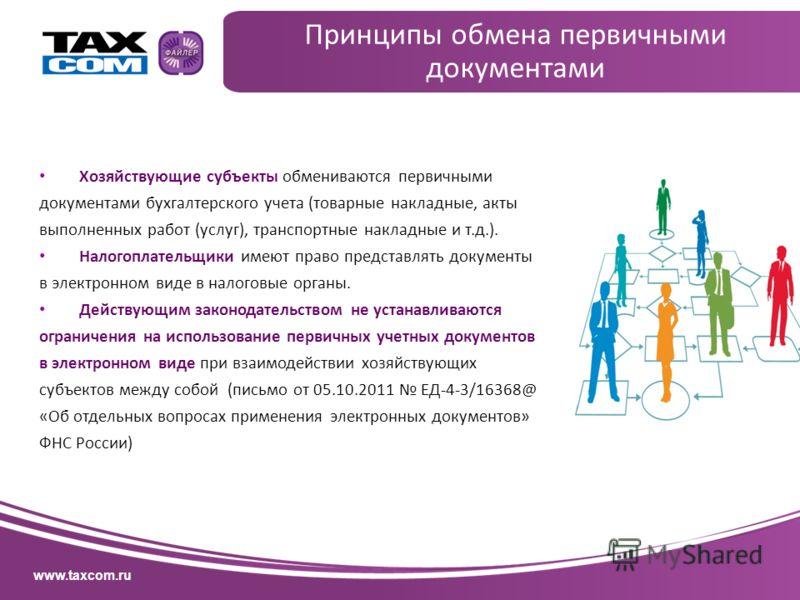 www.taxcom.ru Хозяйствующие субъекты обмениваются первичными документами бухгалтерского учета (товарные накладные, акты выполненных работ (услуг), транспортные накладные и т.д.). Налогоплательщики имеют право представлять документы в электронном виде