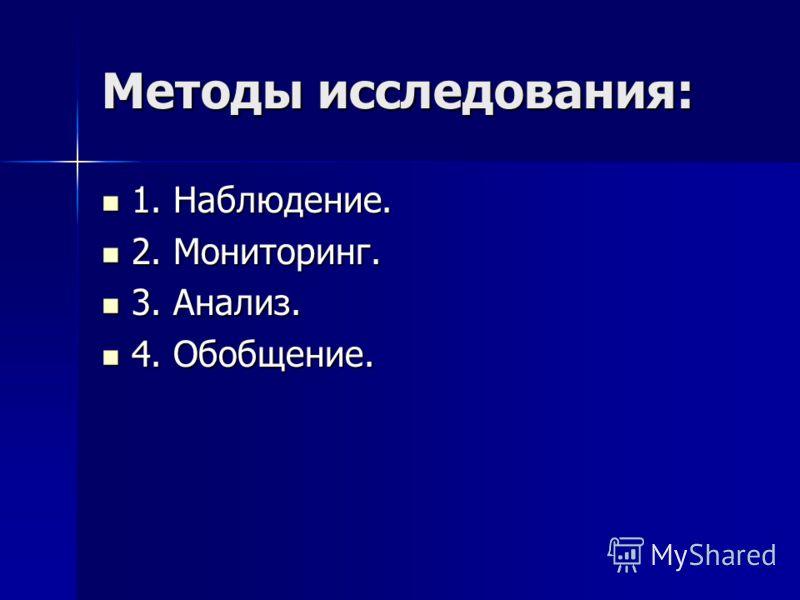 Методы исследования: 1. Наблюдение. 1. Наблюдение. 2. Мониторинг. 2. Мониторинг. 3. Анализ. 3. Анализ. 4. Обобщение. 4. Обобщение.
