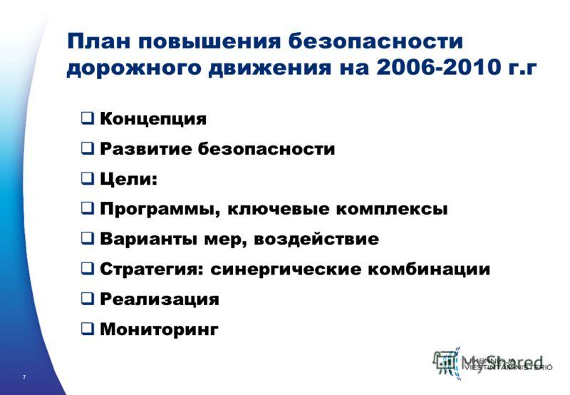 7 План повышения безопасности дорожного движения на 2006-2010 г.г Концепция Развитие безопасности Цели: Программы, ключевые комплексы Варианты мер, воздействие Стратегия: синергические комбинации Реализация Мониторинг