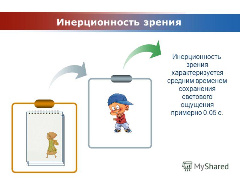 www.themegallery.com Company Logo Инерционность зрения характеризуется средним временем сохранения светового ощущения примерно 0.05 с. Инерционность зрения