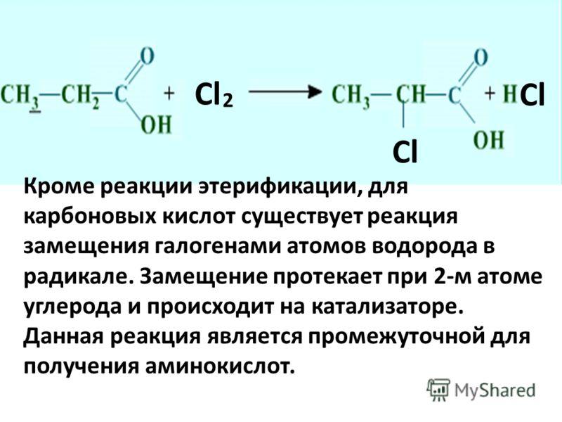 Cl 2 Кроме реакции этерификации, для карбоновых кислот существует реакция замещения галогенами атомов водорода в радикале. Замещение протекает при 2-м атоме углерода и происходит на катализаторе. Данная реакция является промежуточной для получения ам