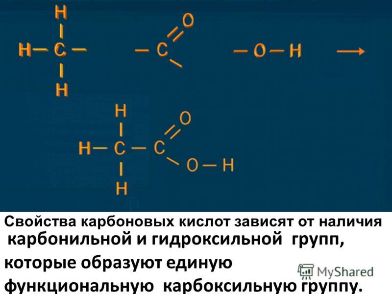 карбонильной и гидроксильной групп, которые образуют единую функциональную карбоксильную группу. Свойства карбоновых кислот зависят от наличия