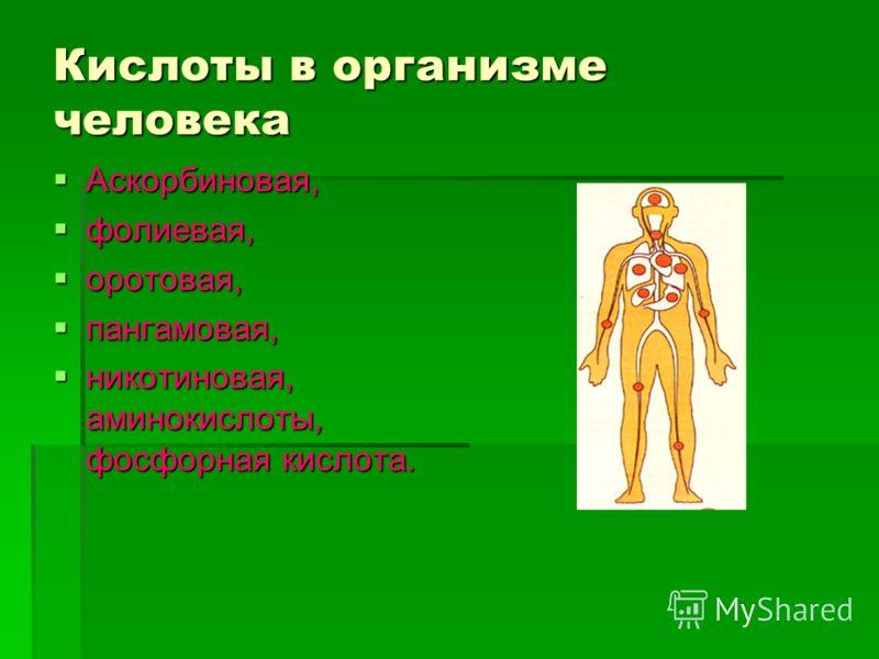 Кислоты в организме человека Аскорбиновая, Аскорбиновая, фолиевая, фолиевая, оротовая, оротовая, пангамовая, пангамовая, никотиновая, аминокислоты, фосфорная кислота. никотиновая, аминокислоты, фосфорная кислота.
